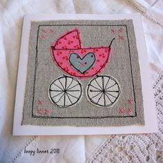 Trendy Ideas For Baby Girl Congratulations Card Paper Crafts Fabric Postcards, Fabric Cards, Embroidery Cards, Free Motion Embroidery, Freehand Machine Embroidery, Free Machine Embroidery, Baby Girl Cards, New Baby Cards, Sewing Cards