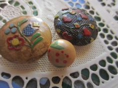Vintage Buttons  3 cottage chic hand painted wood by pillowtalkswf, $7.95