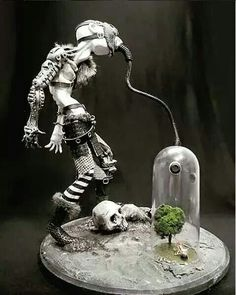Art | Man breathing from the last tree on earth