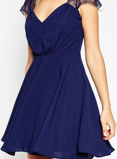 Women's Elegant Lace Paneled Deep V A-line Dress - OASAP.com