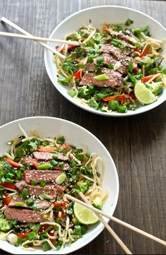 This Thai Noodle Steak Salad is healthy, light, delicious and a perfect dish to eat during the summer months!