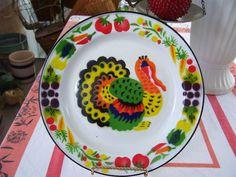 Vintage Enamelware Turkey Holiday Thanksgiving Plate Look | eBay