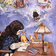 ilustración dibujo, chica escribiendo en su diario, recuerdos y sueños by aeppol…