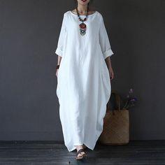 Women  printing cotton linen loose dress - Buykud