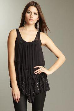 AllSaints Thailia Top  100% silk, scoop neck. pleated, embellished ruffled bottom