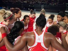 Pamela Cookey giving a team talk to England Netball Team.