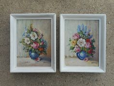 Pair of Framed vintage GLENN F. BASTIAN Floral Still life Paintings ~Indiana Art #Impressionism each measuring 6 x 8 and are in the original frames measuring 7 x 9 overall but unfortunately it appears someone felt the need to over-paint them in white, both paintings are signed G. BASTIAN at lower RH bottom in good condition and frames are marked Painted by Glenn F, Bastian on back dust cover. Glenn Bastian was a native of Gary, Indiana and operated a studio there and was quite the prolific p...