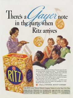 1936 Ritz Crackers Vintage Food Advertisement National Biscuit Co Print Party Art Illustration Retro Kitchen / Restaurant Wall Decor Funny Vintage Ads, Vintage Humor, Vintage Advertisements, Vintage Food, Retro Food, Retro Recipes, Vintage Recipes, 1930s Party, Salty Snacks