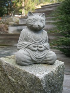 Cat Buddha Meditating Cat Statue by WestWindHomeGarden on Etsy, $18.95