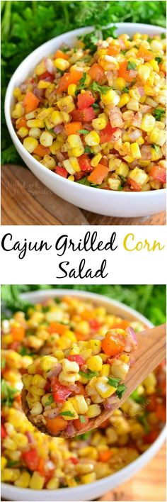 Cajun Corn Salad. A TASTY side dish to serve at your next BBQ party. This sweet and spicy creation will be your next HIT.