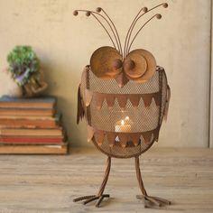 Rustic Iron Owl Candle Lantern