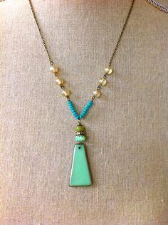 Cassie. Modern,bohemian,summer,beaded necklace.Tiedupmemories