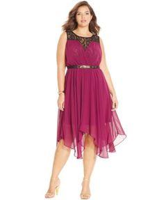 City Chic Plus Size Chiffon-Lace Belted Dress | macys.com