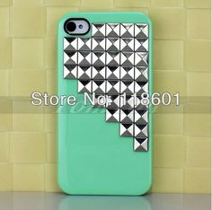 New Fashion Silver Pyramid Studs Handmade Mint Green Hard Back Shell Cover Case For iPhone 4 4s 4G $4.99