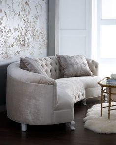 """""""Monroe"""" Sofa by Haute House.  My dream...to have a curved sofa on one side of a large round dining room table...so everyone is comfy & wants to just linger and talk after a great meal."""