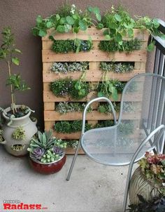 palette recycle. Great idea for a vertical herb garden