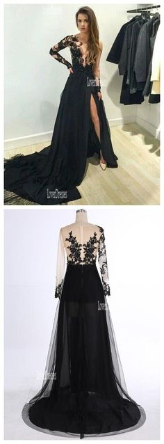 long sleeve prom dresses, lace prom dresses, black prom dresses, sexy prom dresses, prom dresses 2016, elegant dress for prom, 17020