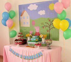 "peppa pig Photo 1 of Peppa Pig / Birthday ""It's Raining Love"" Peppa Pig Birthday Decorations, Peppa Pig Birthday Cake, Peppa Pig Party Ideas, Peppa E George, Cumple Peppa Pig, 4th Birthday Parties, 3rd Birthday, Birthday Ideas, Television Set"