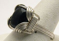 Handmade Sterling Silver Mini Wrap Onyx Topaz Ring by JandSGems