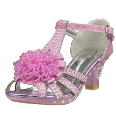 Girl's T-Strap Ribbon Beaded Rhinestone Glitter High Heel Dress Shoes Pink little girl dress sandals cute pageant footwear special occasion