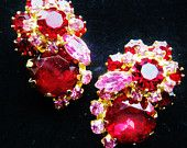 JULIANA Delizza & Elster Candy Red Pink Tiered Rhinestone Cluster Clip On Earrings Designer JULIANA Jewelry