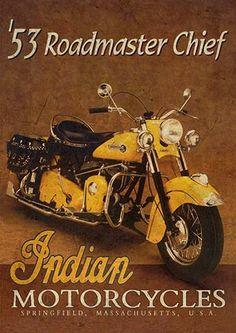 22275. - MOTORCYCLE - INDIAN 1953 - Roadmaster Chief - modelo envelhecido -  - 29x41-.
