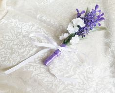 Violet  Lavender white Matthiola flowers Boutonniere Groom and groomsmen boutonniere, Wedding Flowers custom corsage - pinned by pin4etsy.com