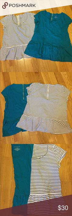 2 Ann Taylor shirt bundle One blue and one black and white stripes peplum tops! In excellent used condition! Material is 60% cotton and 40% modal! Ann Taylor Tops Tees - Short Sleeve