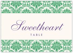 A unique damask pattern that can be customized in any color frames these unique wedding table name cards and signs. Send us any table names you'd like and we can cutomize them for you. Wedding Table Name Cards, Sweetheart Table, Flourish, Unique Weddings, Damask, Monogram, Signs, Frame, Pattern