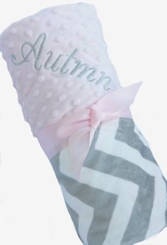 Personalized Baby Blanket Gray and White Minky Chevron Baby Blanket with Pink Dot Minky Back over 35 fonts to choose fro on Etsy, $35.00
