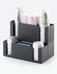 Classic Cup & Lid Organizer Item: 2041. This organizer is perfect for the coffee bar. With 4 areas total to hold either cups or lids, it has never been easier for someone to get all they need for their coffee fix. In addition to cups and lids, there are also areas to insert straws and stir sicks. http://www.calmil.com/index.php?page=shop.product_details&flypage=flypage.tpl&category_id=4&product_id=1624&option=com_virtuemart&Itemid=50