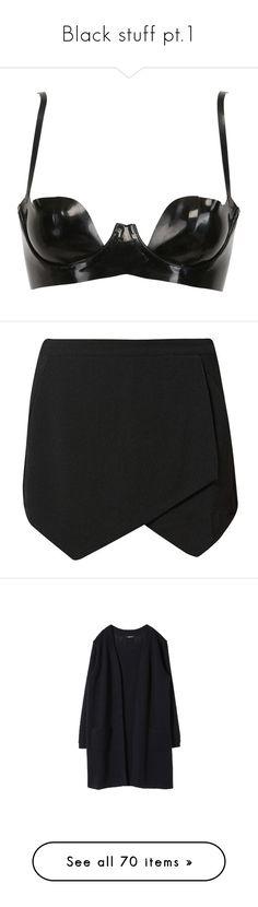 """Black stuff pt.1"" by jumpkat ❤ liked on Polyvore featuring intimates, bras, lingerie, tops, underwear, black, atsuko kudo, shelf bra, lingerie bra and balconette bra"