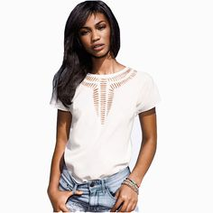 3d6d653659 2015 New Casual Top Chiffon Tees Blouse fashion Hot sales women shirt  hollow laser engraving summer clothes 6686-in Blouses   Shirts from Women s  Clothing ...