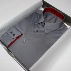 | chemise homme|chemise luxe| chemise grise| chemise opposition col et poignets| chemise bas liquette| chemise non iron| chemise en coton|chemise poignets double boutonnage| chemise col pointes arrondies
