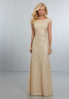 Exquisite, Caviar Mesh A-Line Gown with High Neckline and Cap Sleeve Detail, Extending Down to a Low, Scoop Back with Strap Cutouts and Zipper. View Caviar Mesh Swatch Card for Color Options. Shown in Gold. Mori Lee Bridesmaid Dresses, Cap Sleeve Bridesmaid Dress, Homecoming Dresses, Bridal Dresses, Wedding Bridesmaids, Cocktail Dresses Online, Bride Gowns, A Line Gown, Groom Dress