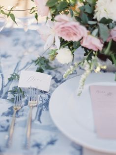 Blue and White Toile Wedding Table Decorations by Molly Carr Photography Peach Wedding Colors, Fuschia Wedding, Pale Pink Weddings, Romantic Wedding Receptions, Wedding Reception Flowers, Wedding Tables, Wedding Reception Decorations, Wedding Centerpieces, Reception Ideas