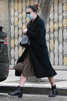 Mandy Moore covers up her baby bump with black winter coat as she goes shopping in Beverly Hills | Daily Mail Online Baby Cover, Cover Up, Black Winter Coat, Mandy Moore, Black Leather Ankle Boots, Airport Style, Baby Bumps, Off Duty, Go Shopping