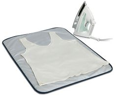 This Portable Ironing Blanket features a heat and scorch resistant surface and non-slip backing to keep the mat in place while you iron