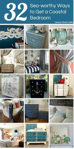 DIY #32 Beautiful Budget Sea-worthy ways to get a Stunning Coastal Bedroom !