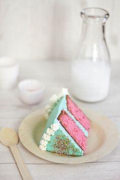 Cherry vanilla layer cake, yum