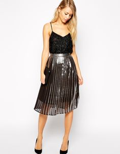 Whistles silver Metalic pleated skirt