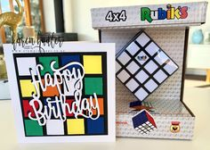 Easy Childs Birthday Card Birthday Cards, Happy Birthday, Inspiration For Kids, Cube, Stampin Up, Card Making, Paper Crafts, Holiday Decor, How To Make