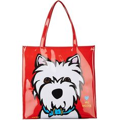 Marc Tetro tote bag offers a fun, artistic design. This tote is lined, provides an interior zipper pocket, and artwork of a West Highland White Terrier.  Tote with dog print measures 15 in. x 15 in. x 3 in.