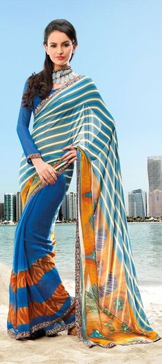 Start this #Fashion and have a #PatternPlay with Stripes and Prints together on a saree.