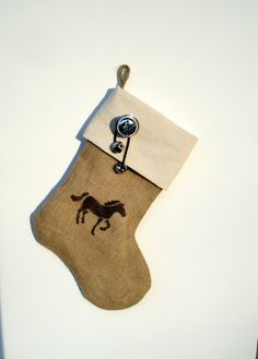Horse stenciled Burlap stocking Western by DreamersGifts on Etsy