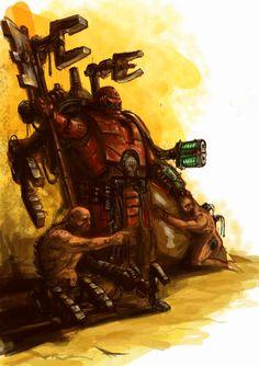 Warhammer 40k Space Marine Tech Priest with servitors
