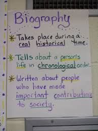 Image result for features of biography vs autobiography anchor chart