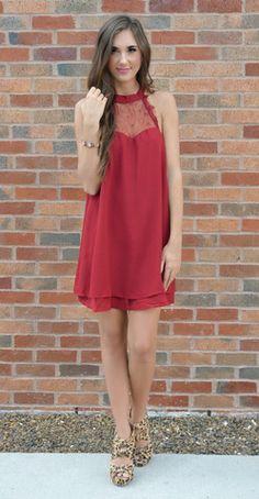 high neck chiffon red dress