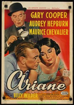 Love in The Afternoon Movie Poster Belgium Trimmed VG Audrey Hepburn Gary Cooper…