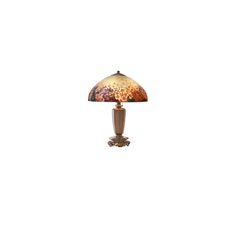 """Fine table lamp, floral shade with butterflies on Chinese base, Meriden, CT, 1910s-20s Acid-etched reverse-painted glass, patinated metal, three sockets Shade signed 6656 HANDEL, cloth label to base 23"""" x 18"""". HANDEL 